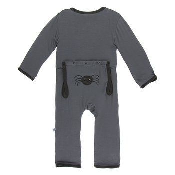 Kickee Pants Holiday Applique Coverall Stone Spider