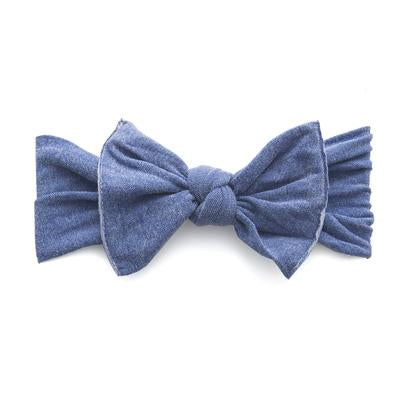 Baby Bling Patterned Stonewash Denim Knot Bow