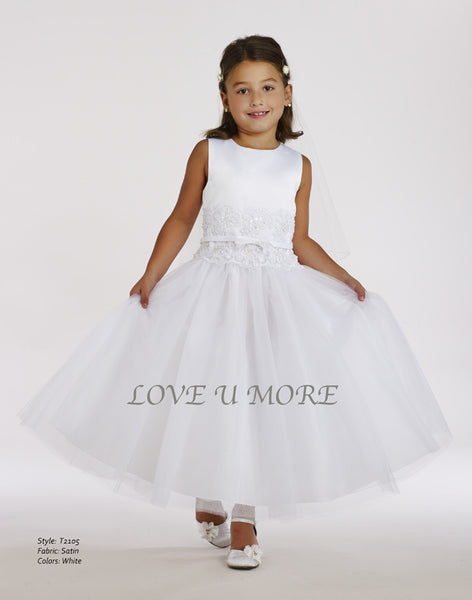 Love U More Satin Tank Communion Dress- Precious + Posh