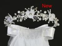 "T418 24"" Veil with organza flowers, rhinestones, pearls, satin bows"