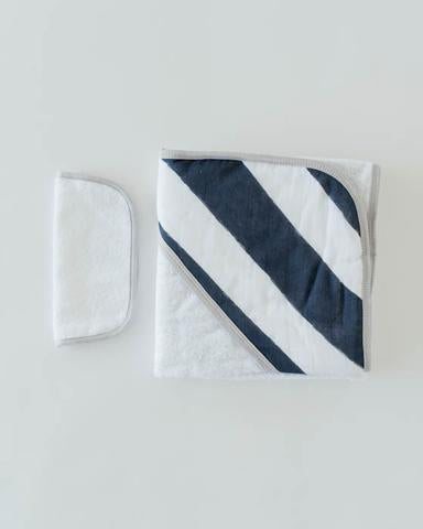 Little Unicorn Hooded Towel Set Navy Stripe -Precious + Posh