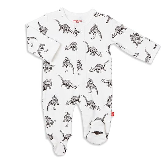 Magnificent Baby - Babe-a-Saurus Organtic Cotton Magnetic Footie - Precious + Posh
