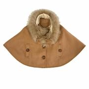 Doe A Dear - Faux Fur Neck Cape with Slit Pockets - Precious + Posh