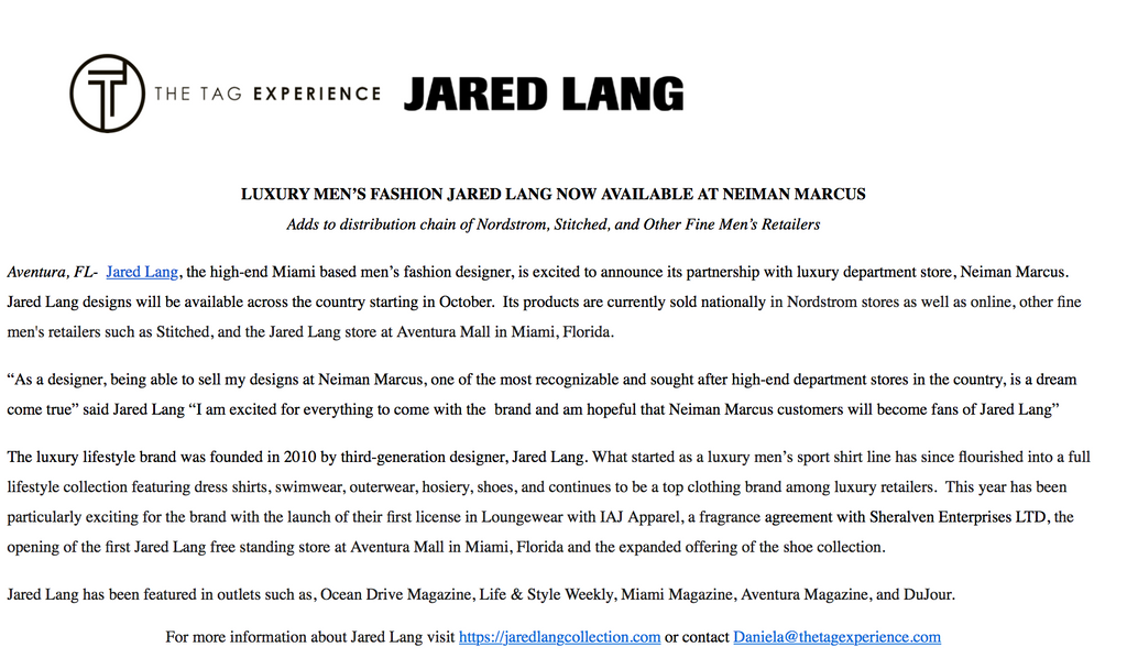 Press Release Jared Lang now sold in Neiman Marcus