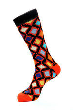 Orange Mercerized Socks for Men JL-11064-3