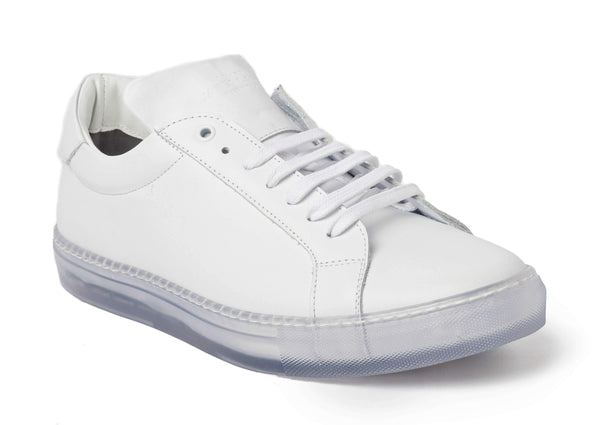 White Clear Sole Sneakers for Men 1818-CRW - Jared Lang