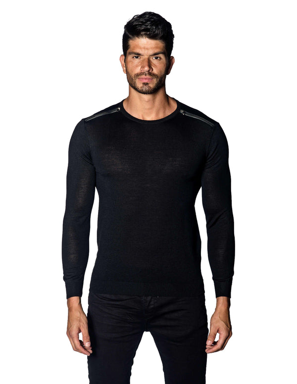 Black Sweater Crew Neck Zipper Piping for Men 1888-BK - Front - Jared Lang