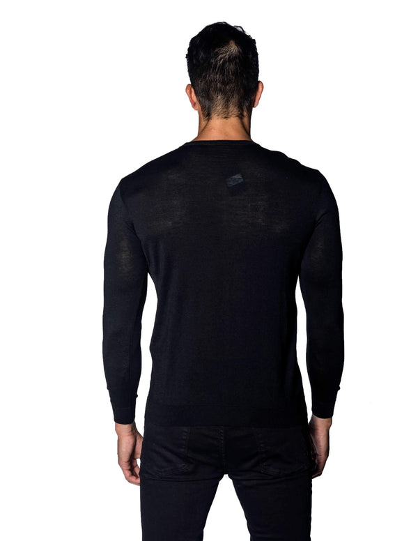 Black Sweater Crew Neck Zipper Piping for Men 1888-BK - Back - Jared Lang