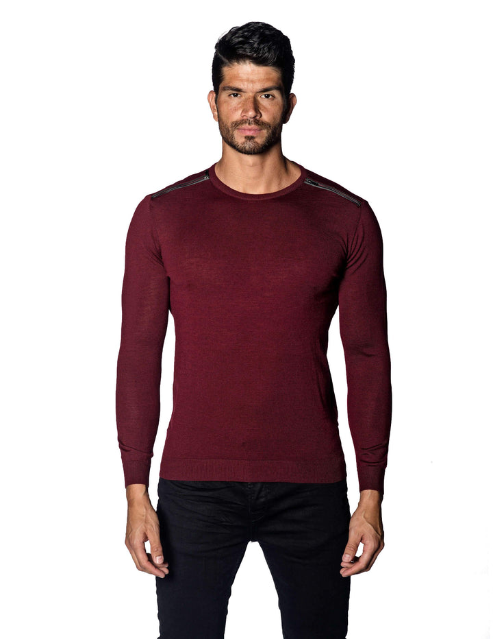 Red Sweater Crew Neck with Zipper piping for Men - front 1888-RD