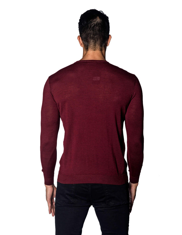 Red Sweater Crew Neck with Zipper piping for Men - back 1888-RD