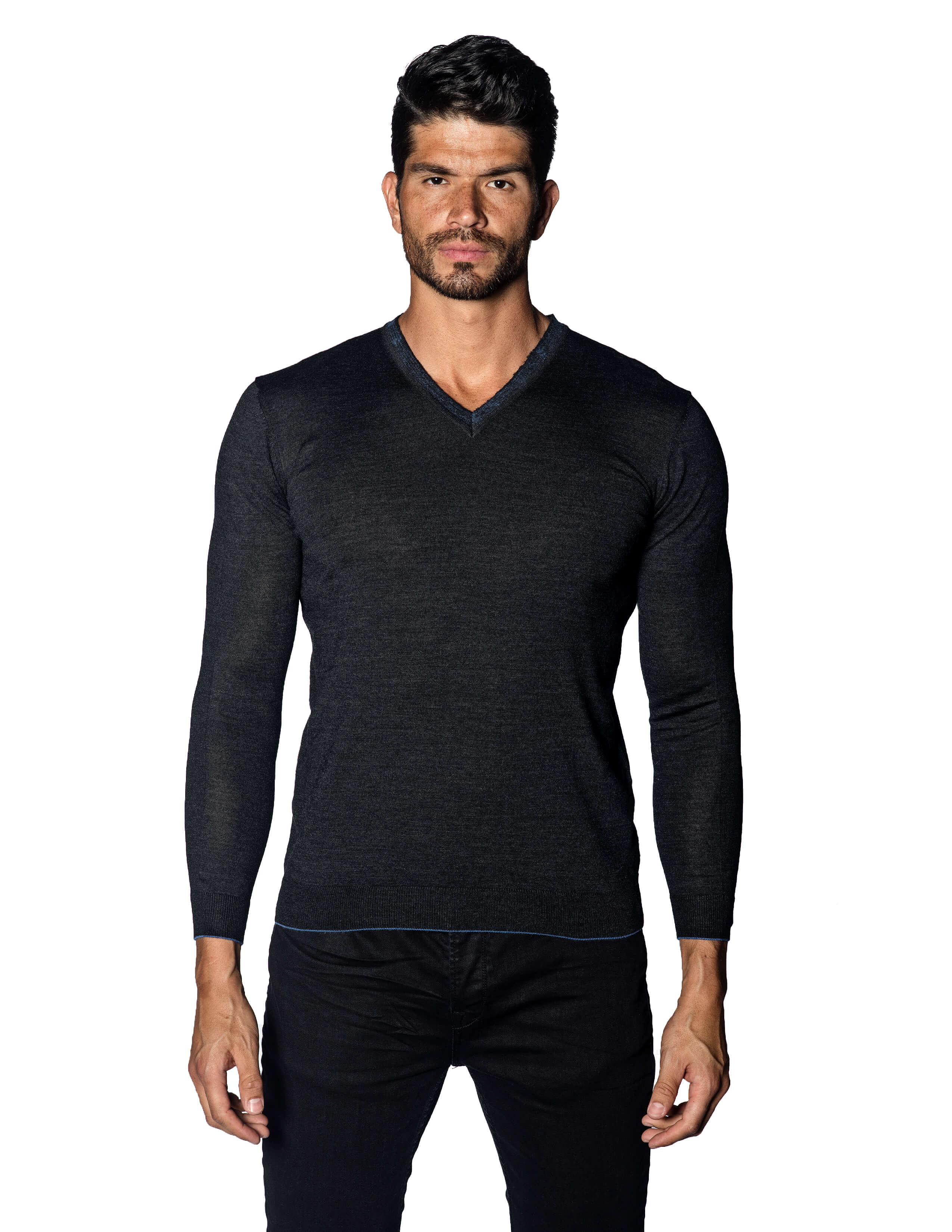 Charcoal Sweater V-Neck with Piping for Men 1895-CH - Jared Lang