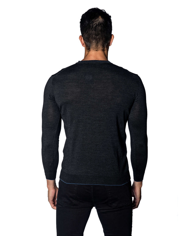 Charcoal V-Neck Sweater for Men 1895-CH - Jared Lang