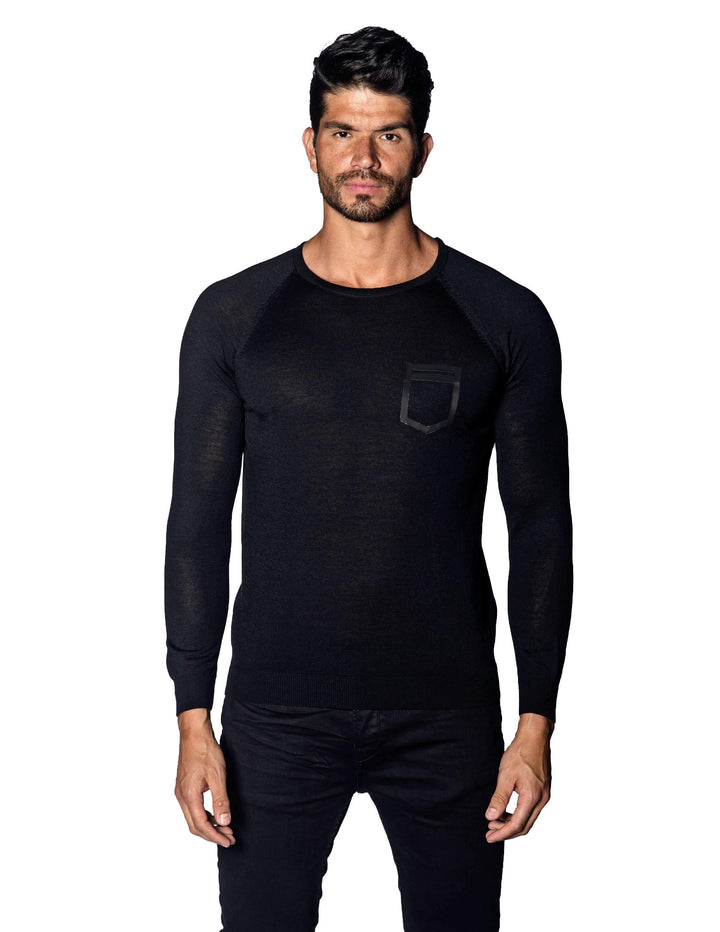 Black Sweater Crew Neck with Faux Pocket for Men 1896-BK - Jared Lang