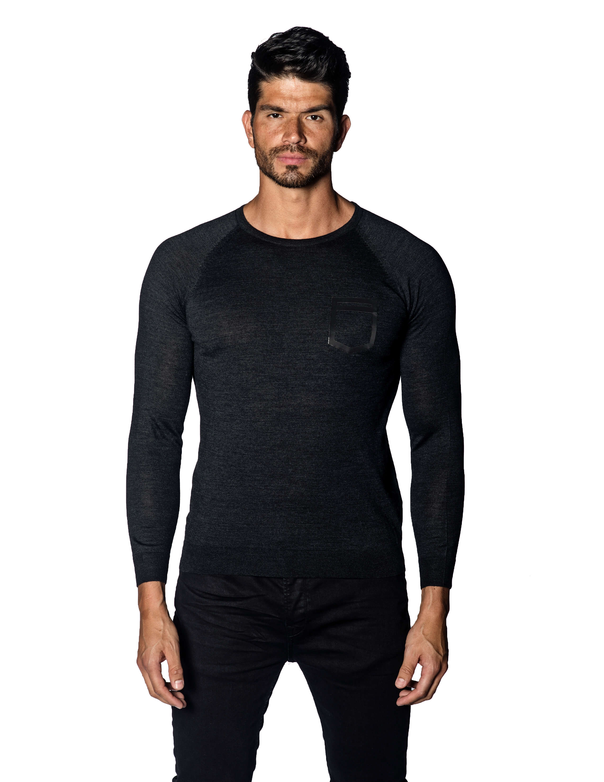 Charcoal Sweater Crew Neck with Faux Pocket for Men 1896-CH - Jared Lang