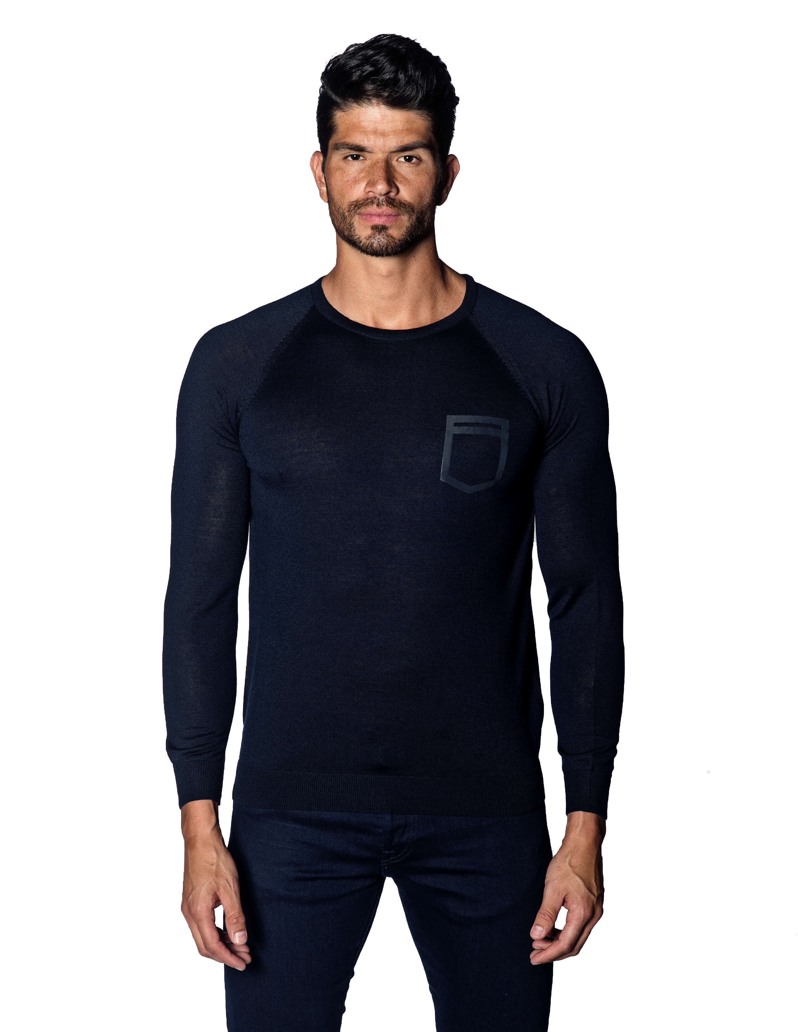 Navy Sweater Crew Neck with Faux Pocket for Men - front 1896-NV