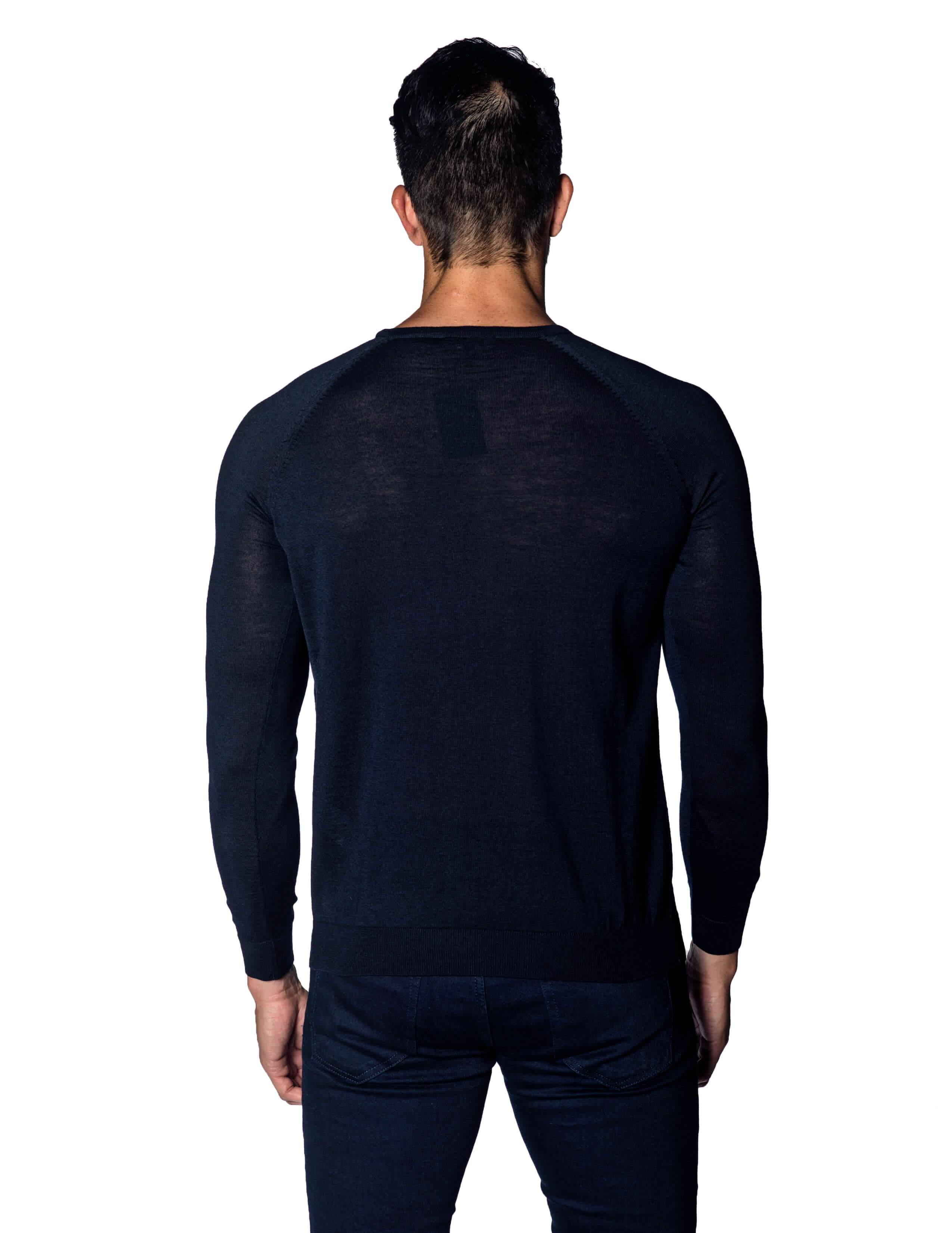 Navy Sweater Crew Neck with Faux Pocket for Men - back 1896-NV
