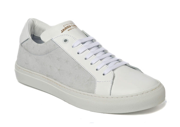White Star Suede Leather Sneakers for Men 2828-EWH - Jared Lang