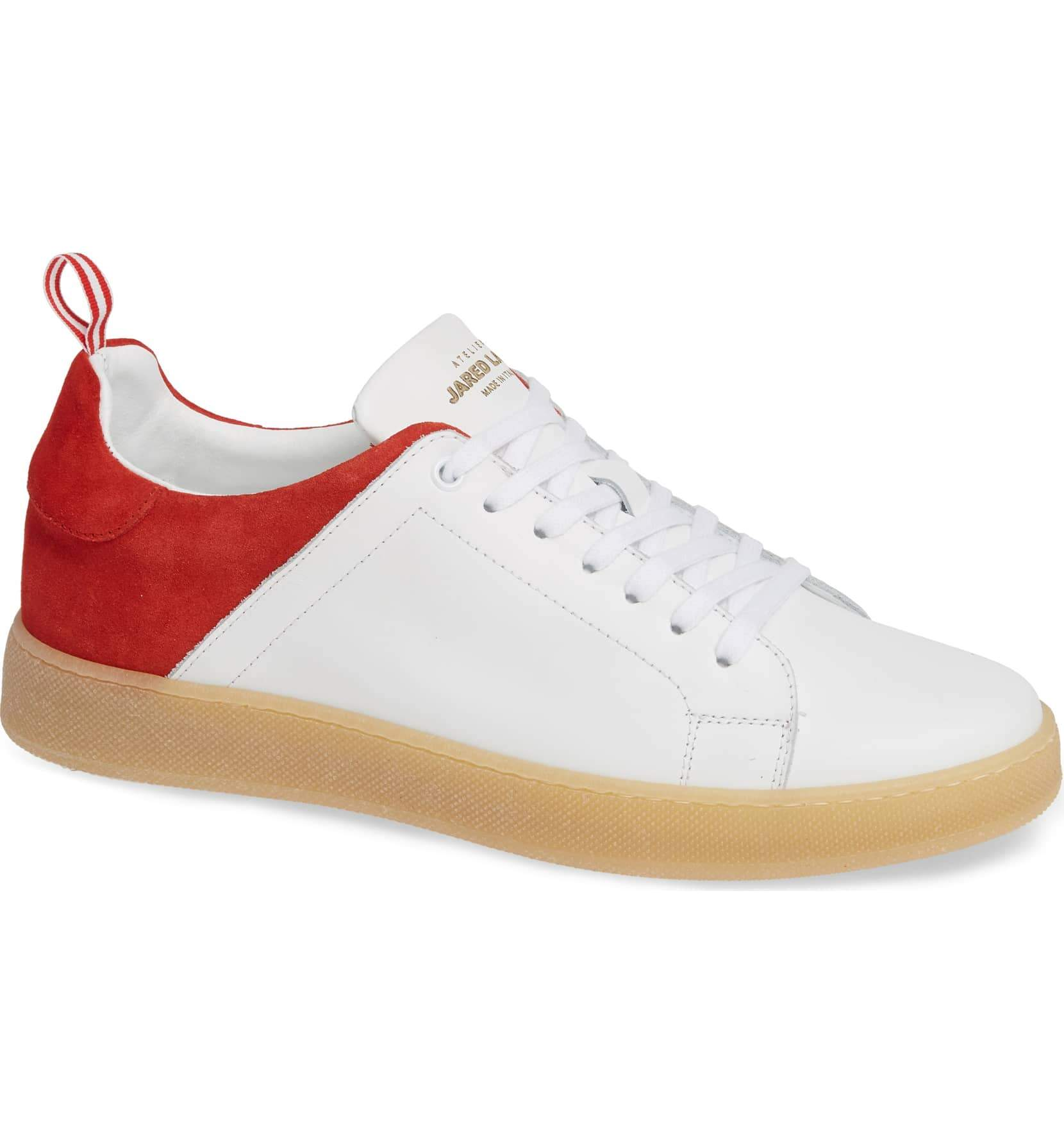 White Leather Red Suede Sneakers for