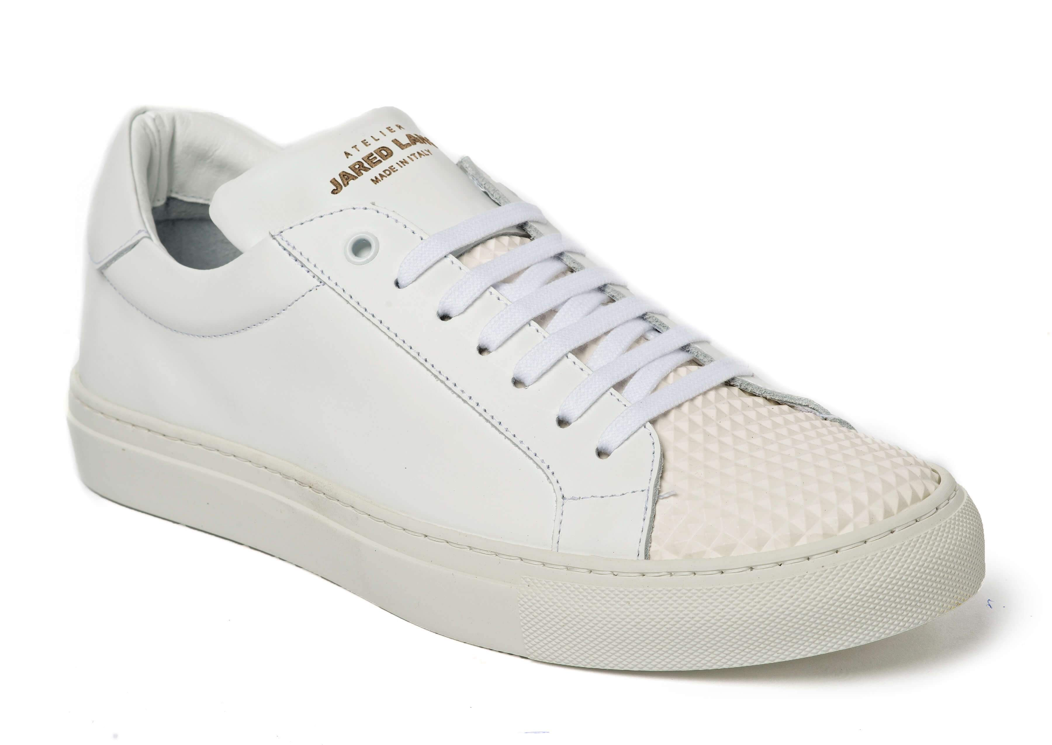 White Leather Sneakers for Men - 2828-WFR - Jared Lang