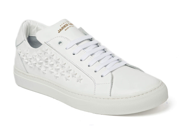 White Leather Star Studded Sneakers for Men 2828-WHST - Jared Lang