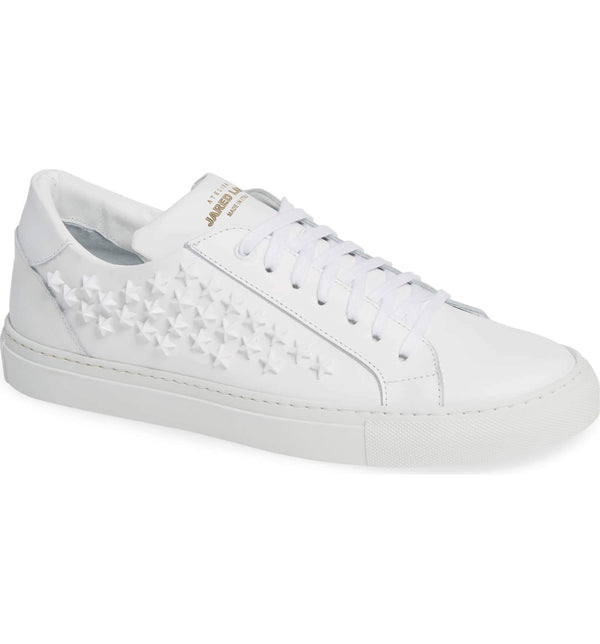 White Leather Star Studded Sneakers for Men - side 2828-WHST - Jared Lang