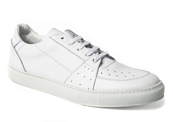 Triple White Leather Sneakers for Men 4055-WH - Jared Lang