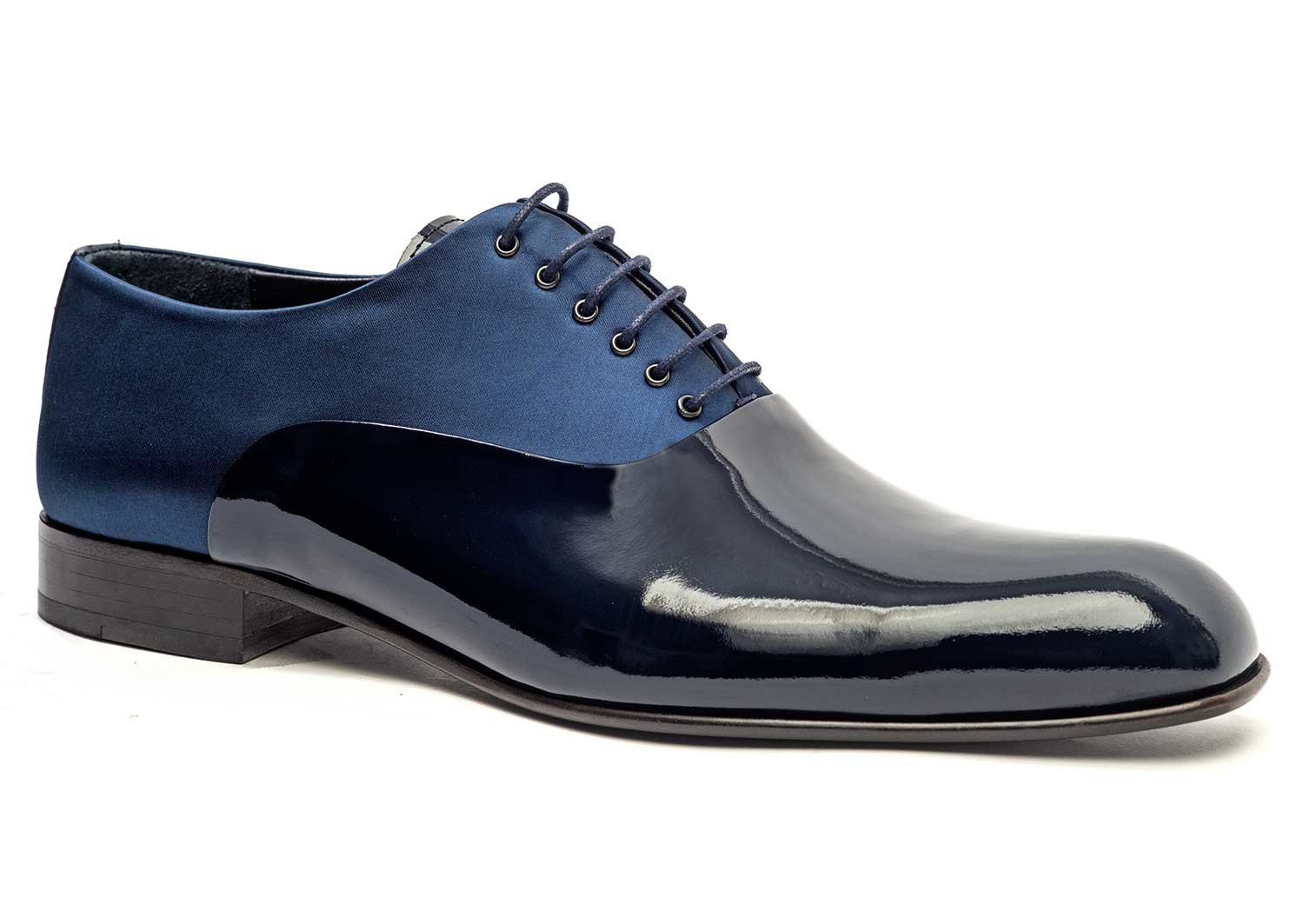 Navy Satin and Patent Leather Dress Shoes for Men -side 51105-NV - Jared Lang