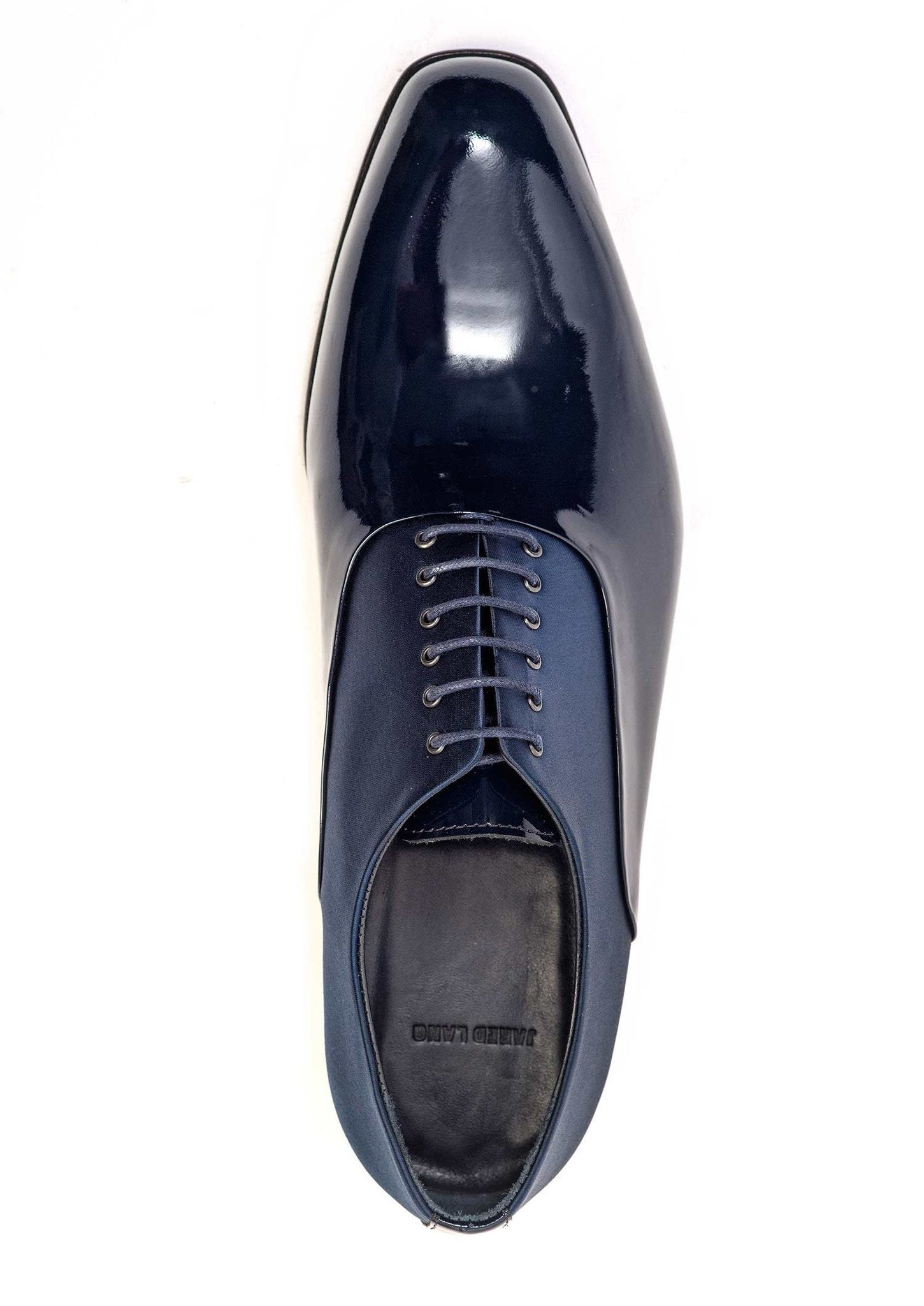 Navy Satin and Patent Leather Dress Shoes for Men - top 51105-NV - Jared Lang