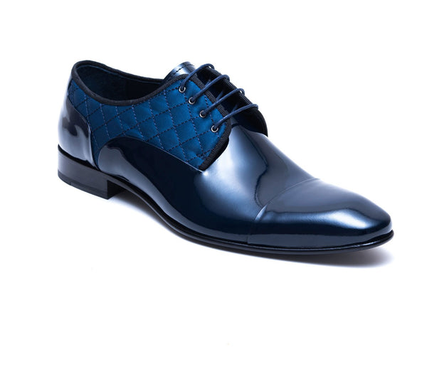 Tufted Navy Patent Formal Dress Shoes - side 8312-NV - Jared Lang