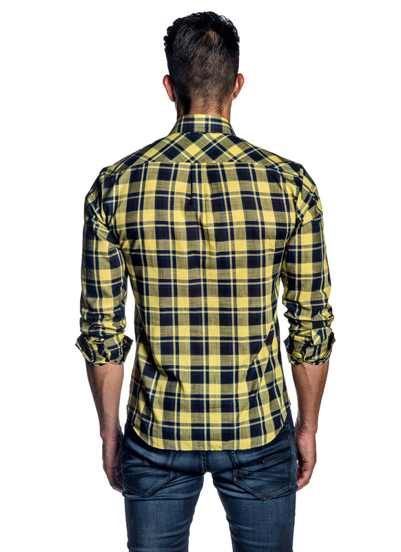 Navy Yellow Plaid Check Shirt for Men AH-ITA-OT-9120 - Back - Jared Lang
