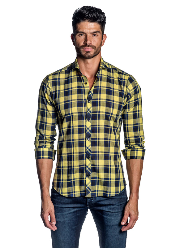 Navy Yellow Plaid Check Shirt for Men AH-ITA-OT-9120 - Front - Jared Lang