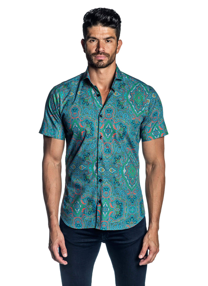 Turquoise Argyle Printed Short Sleeve Shirt for Men AH-ITA-T-2103-SS - Front - Jared Lang