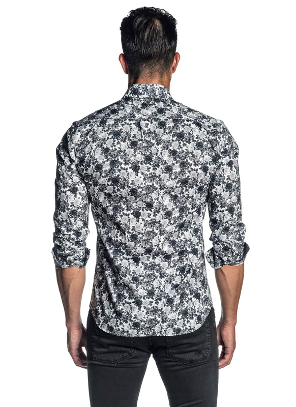White and Grey Floral Shirt for Men AH-ITA-T-2106 - Back - Jared Lang