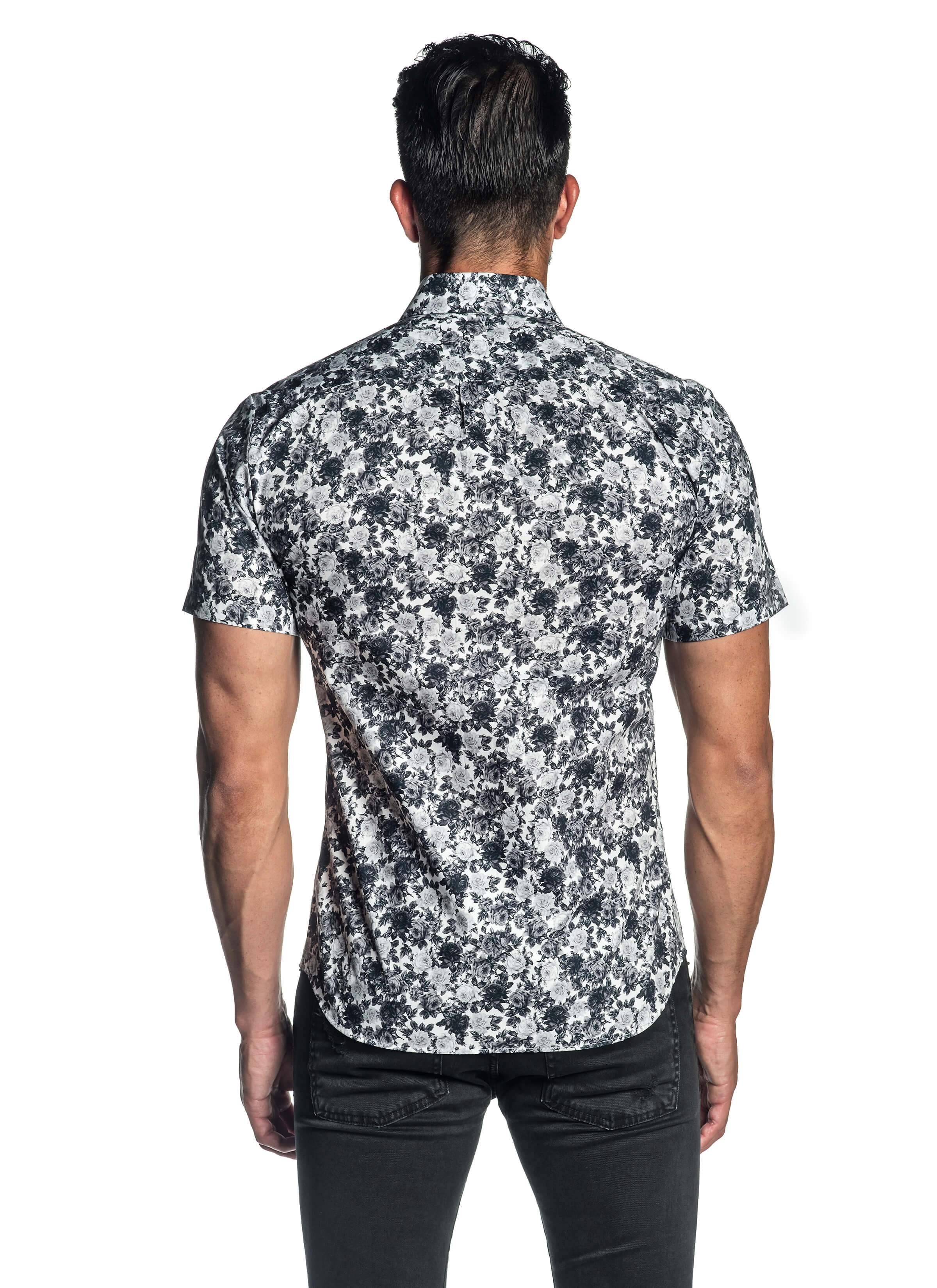 White and Grey Floral Short Sleeve Shirt for Men AH-ITA-T-2106-SS - Back - Jared Lang