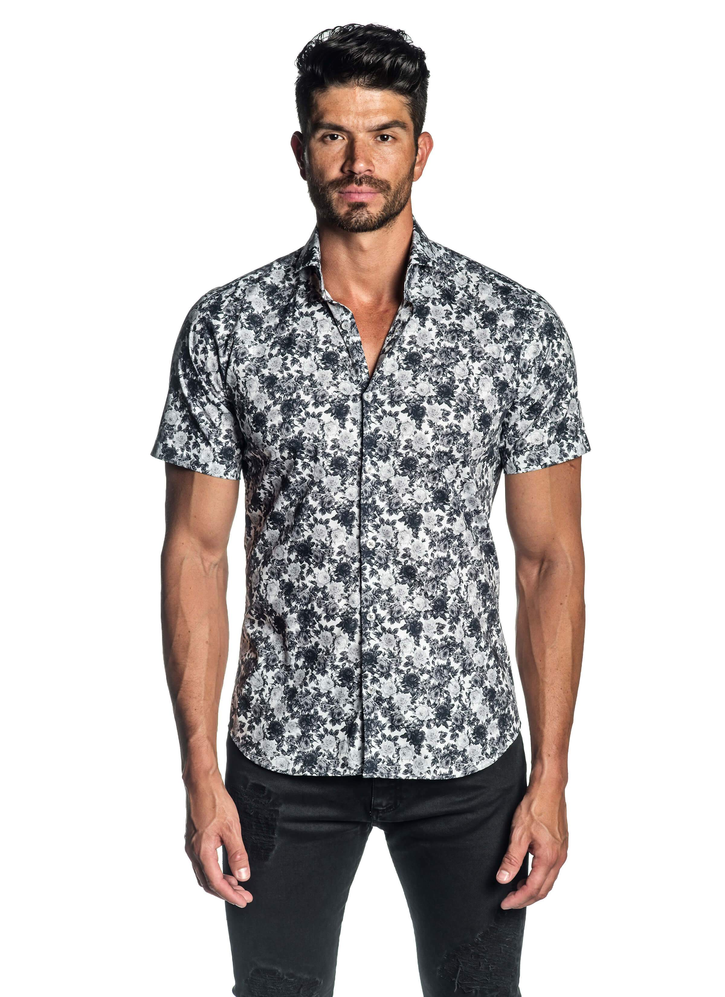 White and Grey Floral Short Sleeve Shirt for Men AH-ITA-T-2106-SS - Front - Jared Lang