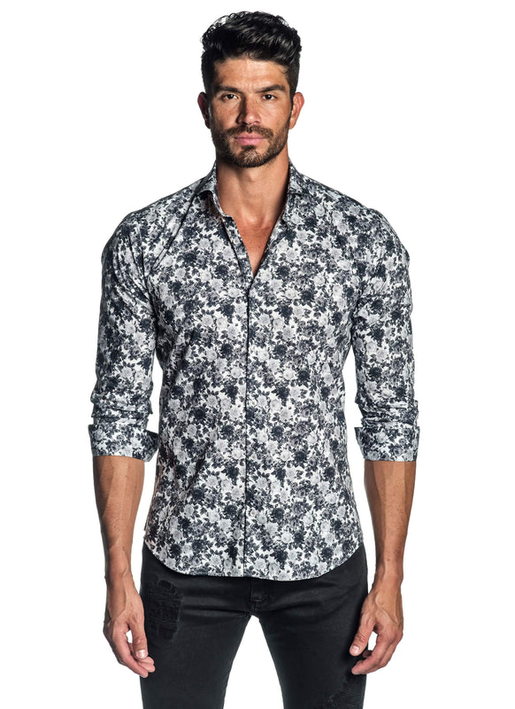 White and Grey Floral Shirt for Men AH-ITA-T-2106 - Front - Jared Lang