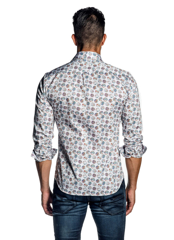 White Multicolor Polka Dot Print Shirt for Men AH-ITA-T-9000 - Back - Jared Lang