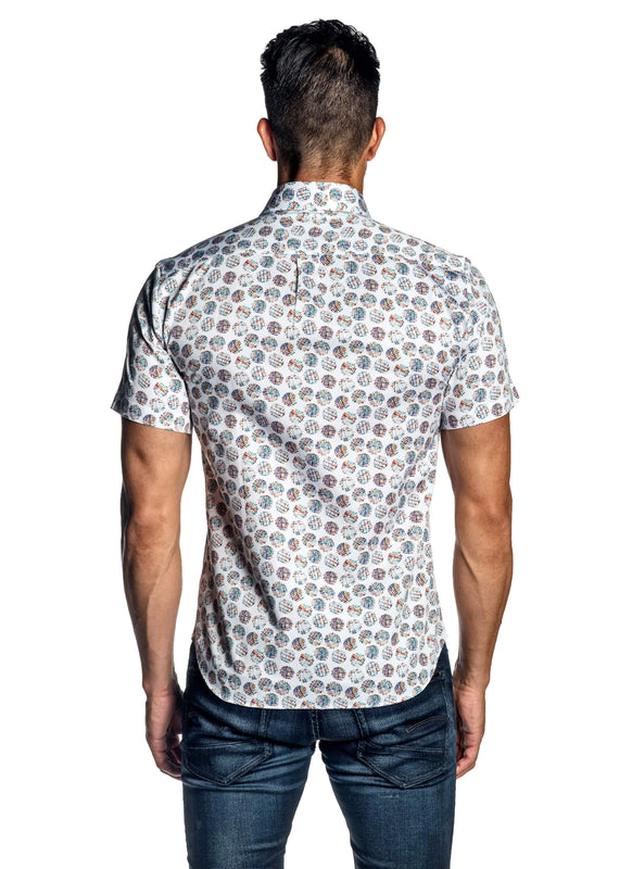 White Polka Dot Print Short Sleeve Men's Shirt AH-ITA-T-9000-SS - Back - Jared Lang