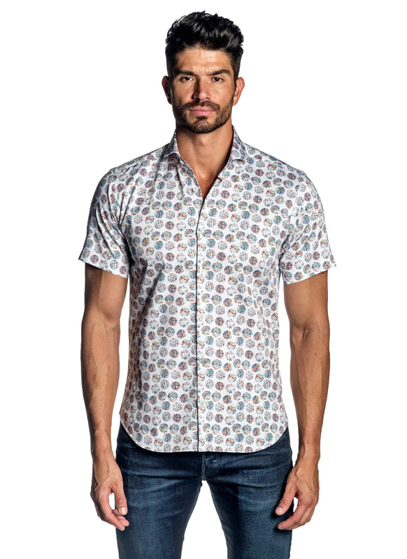 White Polka Dot Print Short Sleeve Men's Shirt AH-ITA-T-9000-SS - Front - Jared Lang