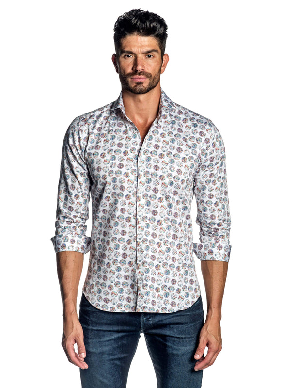 White Multicolor Polka Dot Print Shirt for Men AH-ITA-T-9000 - Front - Jared Lang