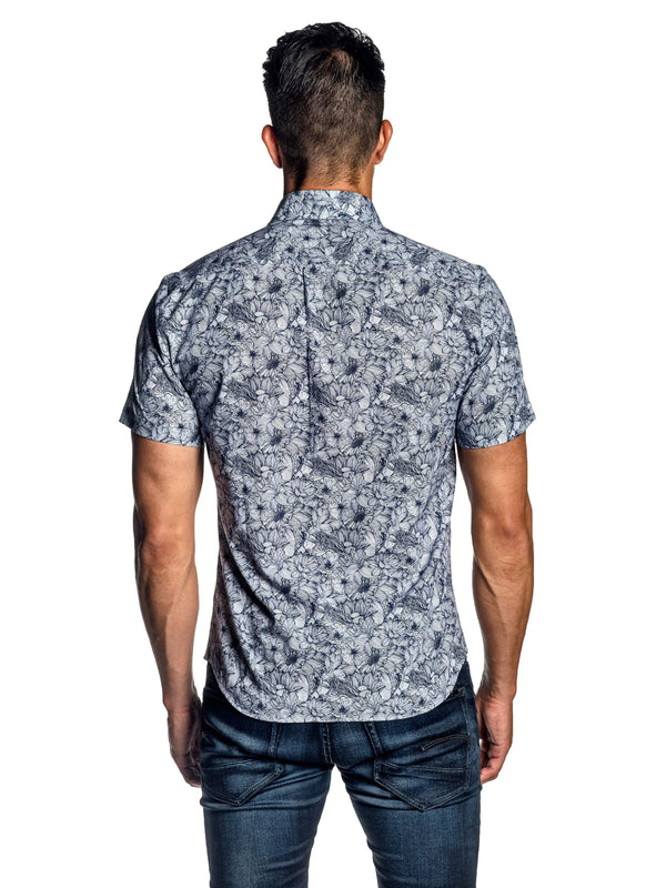 White Blue Floral Short Sleeve Men's Shirt - Back AH-ITA-T-9001-SS - Jared Lang