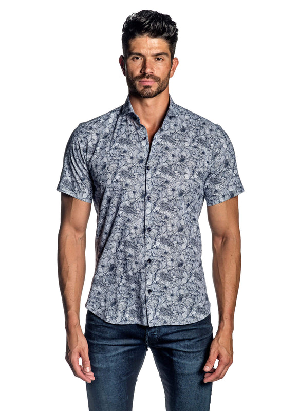 White Blue Floral Short Sleeve Men's Shirt - Front AH-ITA-T-9001-SS - Jared Lang