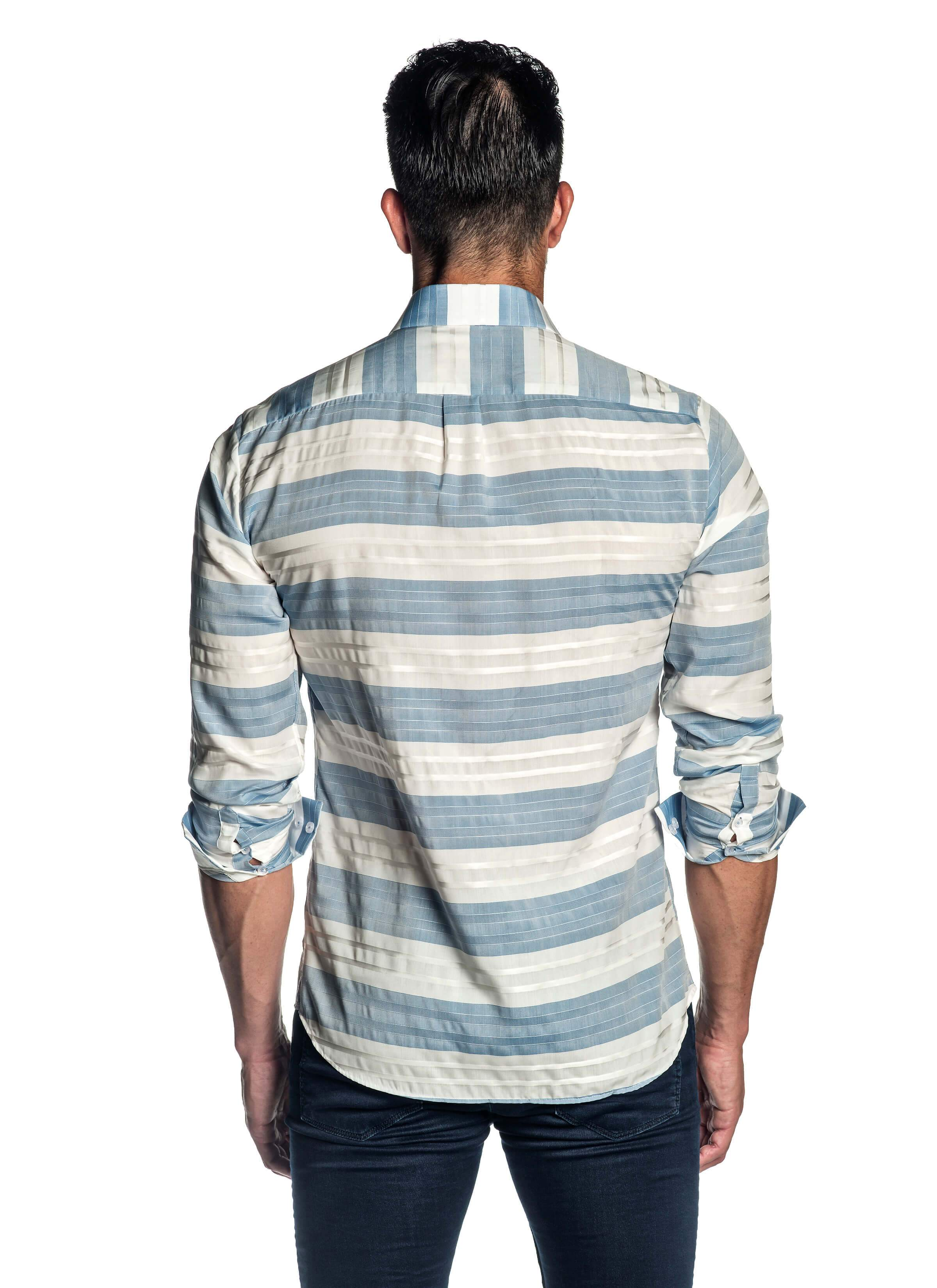White and Blue Stripe Shirt for Men AH-ITA-T-9005