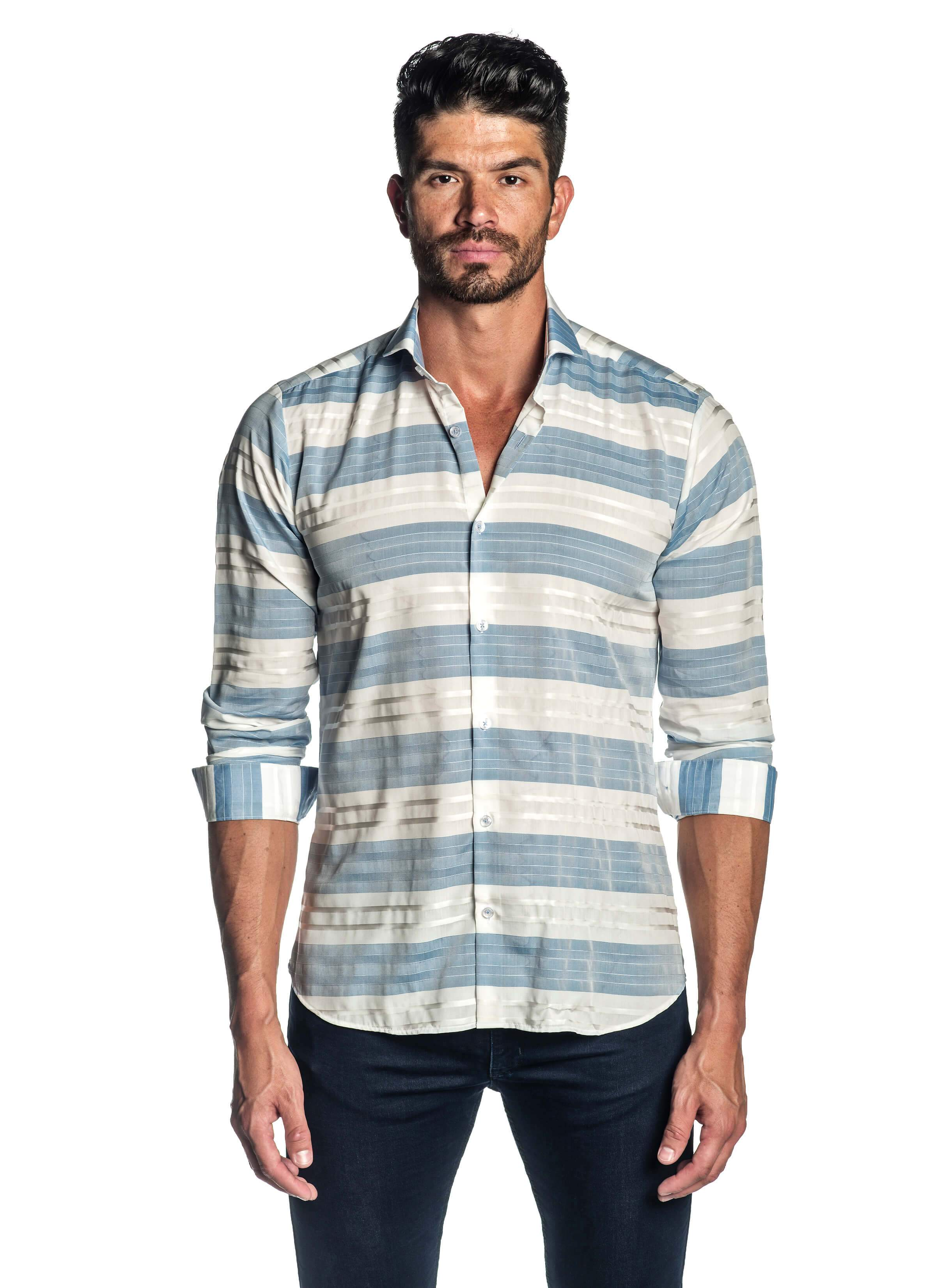White and Blue Stripe Shirt for Men AH-ITA-T-9005 - Front - Jared Lang
