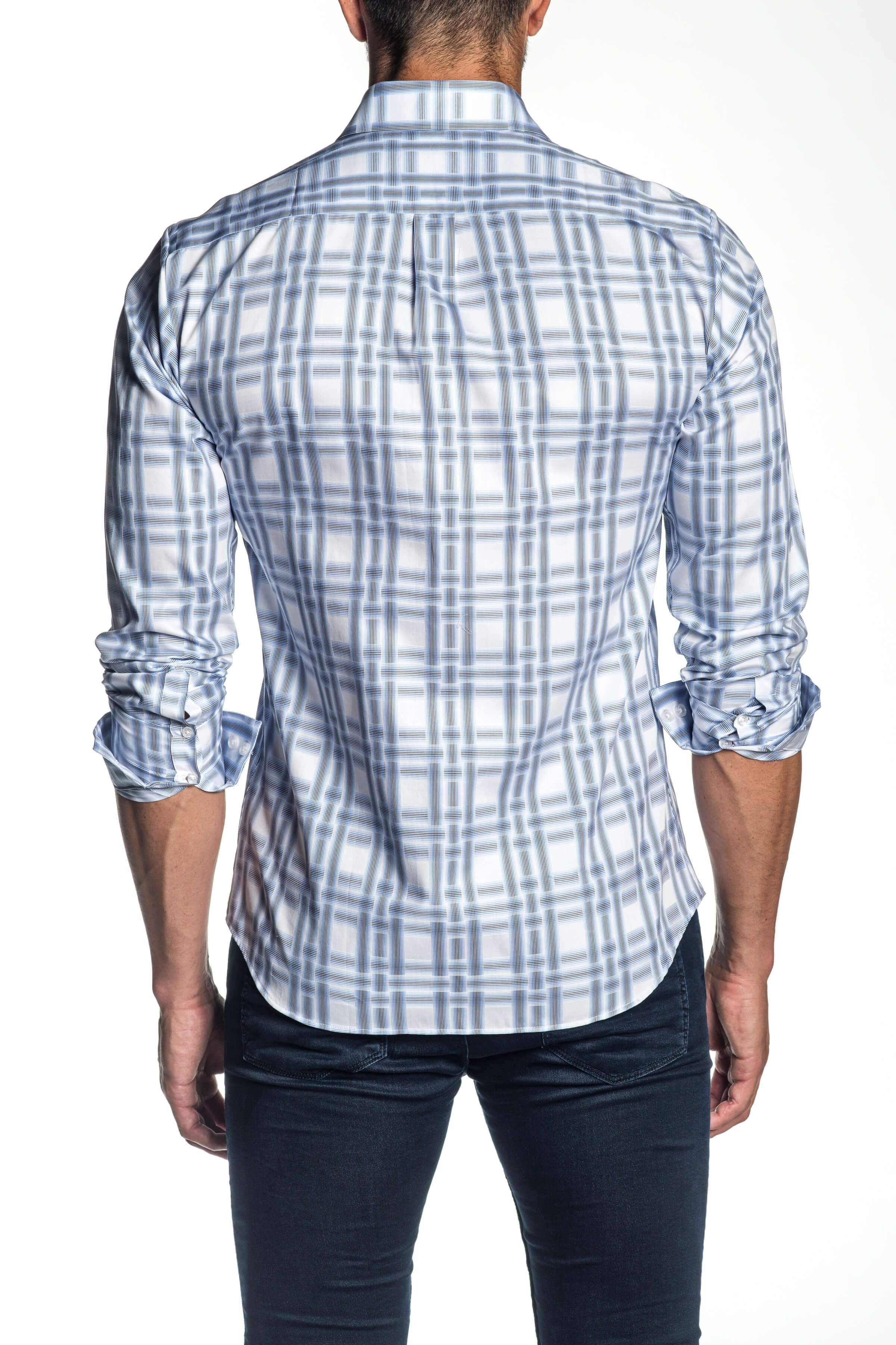 White and Blue Plaid Shirt for Men AH-ITA-T-9007