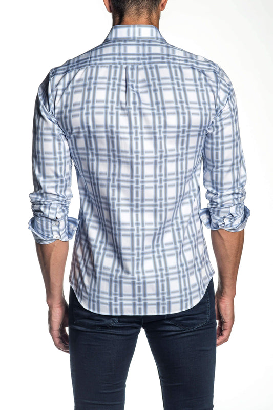 White and Blue Plaid Shirt for Men AH-ITA-T-9007 - Back - Jared Lang