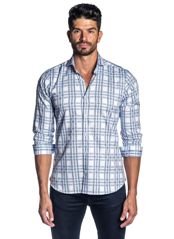 White and Blue Plaid Shirt for Men AH-ITA-T-9007 - Front - Jared Lang