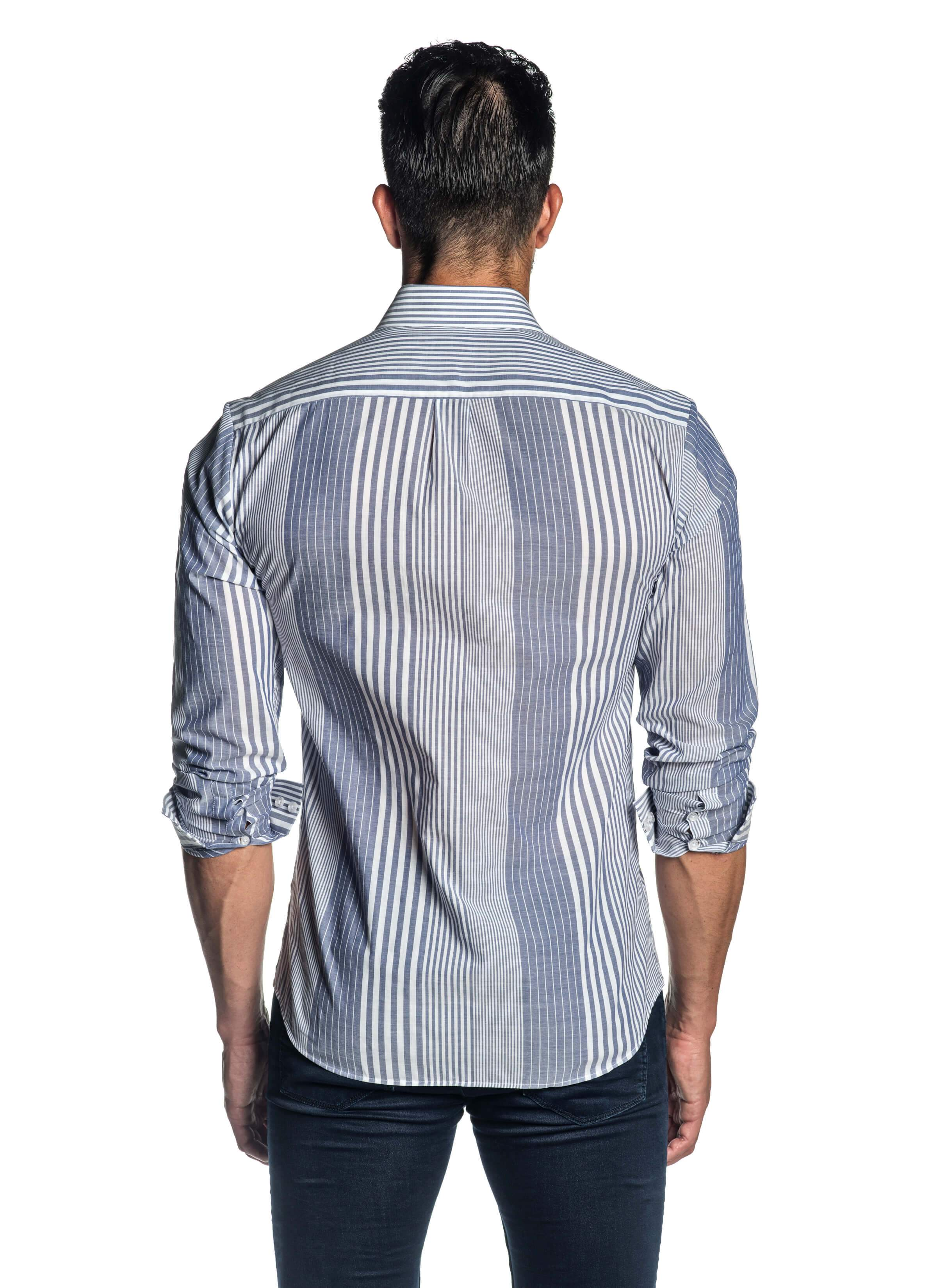 White and Blue Striped Shirt for Men AH-ITA-T-9008