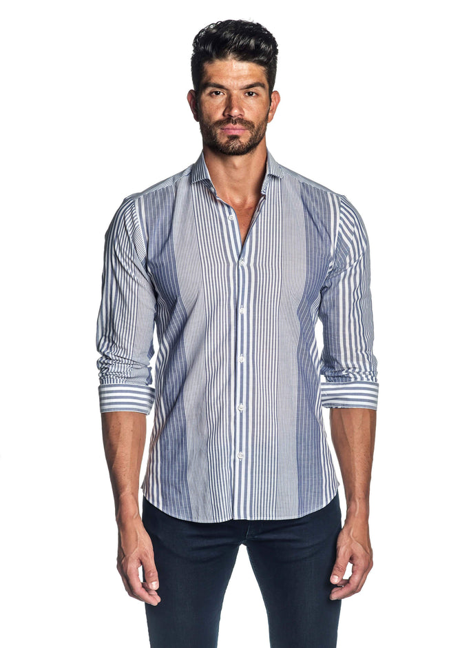 White and Blue Striped Shirt for Men AH-ITA-T-9008 - Front - Jared Lang