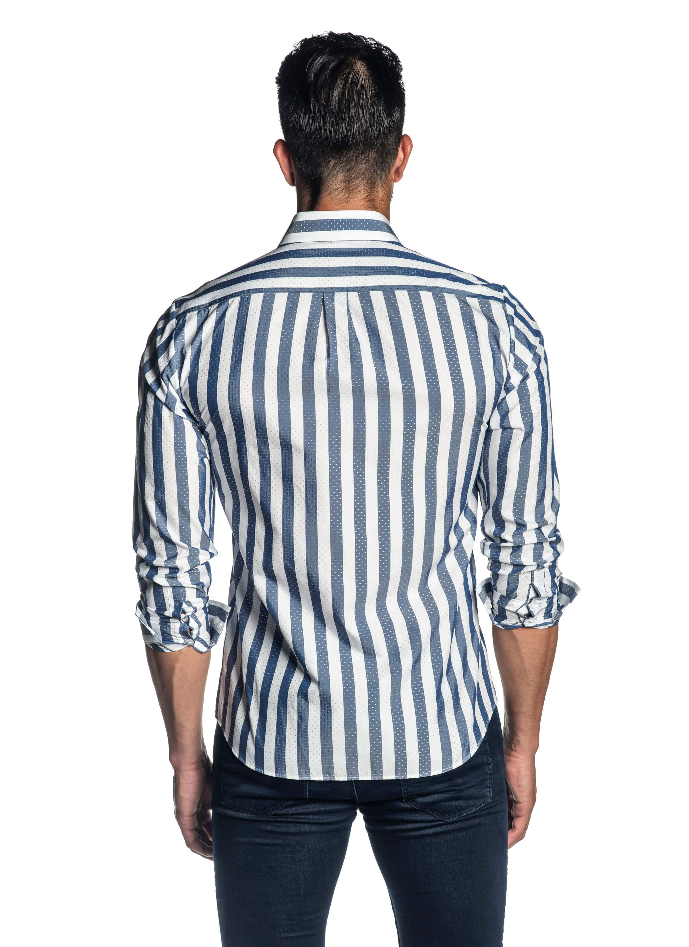 White and Blue Stripe Shirt for Men AH-ITA-T-9012